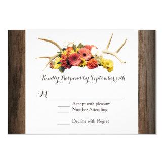 Rustic Deer Antlers Daisy Wood Wedding RSVP Cards