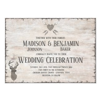 Rustic Deer Antlers Distressed Wedding Invitations