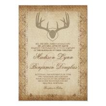 Rustic Deer Antlers Hunting Burlap Wedding Invites