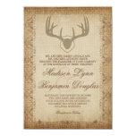"Rustic Deer Antlers Hunting Burlap Wedding Invites 4.5"" X 6.25"" Invitation Card"