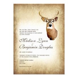 Rustic Deer Antlers Hunting Wedding Invitations
