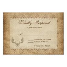 Rustic Deer Antlers Hunting Wedding RSVP Cards