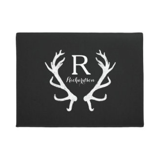 Rustic Deer Antlers Monogram, Choose Your Color Doormat