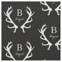 Rustic Deer Antlers Monogram, Choose Your Color Fabric