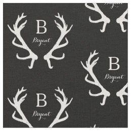 Rustic Deer Antlers Monogram, Choose Your Color Fabric