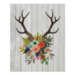 Rustic Deer Antlers with Flowers Poster