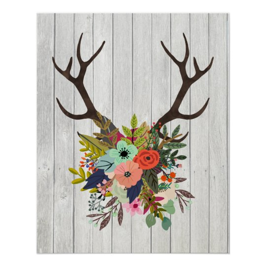 Rustic Deer Antlers With Flowers Poster Zazzle Com