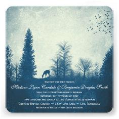 Rustic Deer Blue Country Trees Wedding Invitations