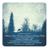 Rustic Deer Blue Country Trees Wedding Invitations