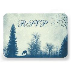 Rustic Deer Blue Country Trees Wedding RSVP Cards