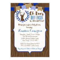 Rustic Deer Buck Baby Shower Invitation, Boy Blue Card