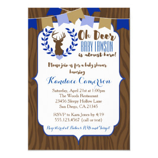 rustic deer buck baby shower invitation boy blue card