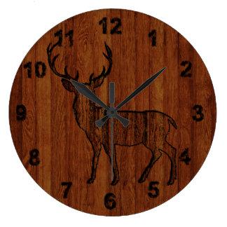 Rustic Deer carved in wood Effect Large Clock