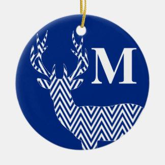 Rustic Deer Chevron Monogram | cobalt blue white Ceramic Ornament
