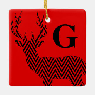 Rustic Deer Chevron Monogram | red black Ceramic Ornament