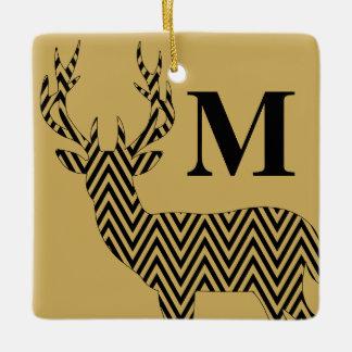 Rustic Deer Chevron Monogram | tan black Ceramic Ornament