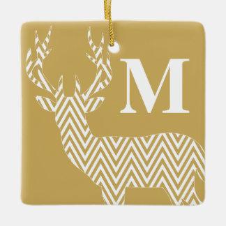Rustic Deer Chevron Monogram | tan white Ceramic Ornament
