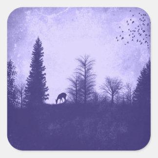 Rustic Deer in Trees Country Purple Sticker