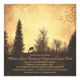 Rustic Deer in Trees Country Wedding Invitations 5.25