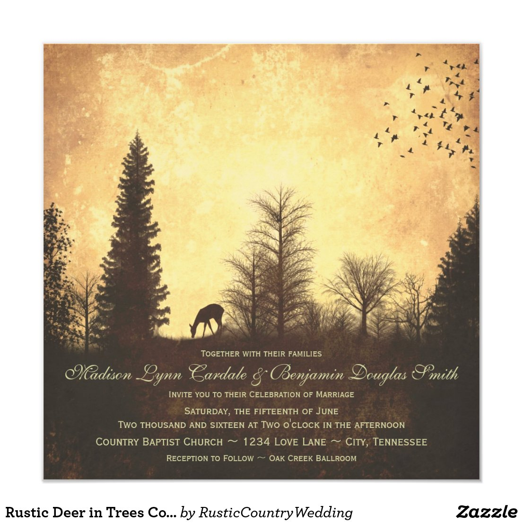 Rustic Deer in Trees Country Wedding Invitations
