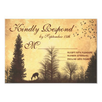 Rustic Deer in Trees Country Wedding RSVP Cards