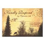 Rustic Deer in Trees Country Wedding RSVP Cards Custom Invites
