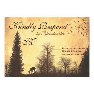 """Rustic Deer in Trees Country Wedding RSVP Cards 3.5"""" X 5"""" Invitation Card"""