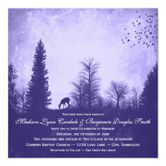 Rustic Deer in Trees Purple Wedding Invitations