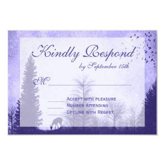 Rustic Deer in Trees Purple Wedding RSVP Cards