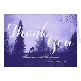 Rustic Deer in Trees Wedding Thank You Cards