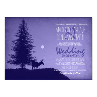 Rustic Deer Pine Tree Purple Wedding Invitations