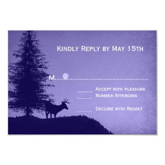 Rustic Deer Pine Tree Purple Wedding RSVP Cards