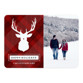RUSTIC DEER | PLAID HOLIDAY PHOTO CARD INVITES