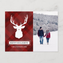 RUSTIC DEER RED CHRISTMAS PHOTO POSTCARD