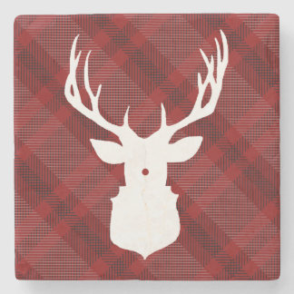 RUSTIC DEER   RED PLAID   STYLISH HOLIDAY COASTERS