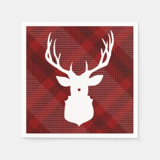 RUSTIC DEER | RED PLAID | STYLISH HOLIDAY NAPKINS PAPER NAPKIN