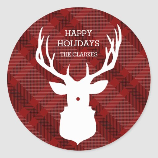RUSTIC DEER RED PLAID STYLISH HOLIDAY STICKERS