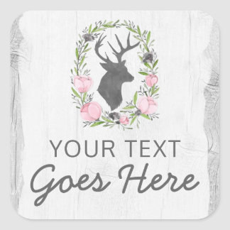Rustic Deer Silhouette Floral Wreath Cameo on Wood Square Sticker