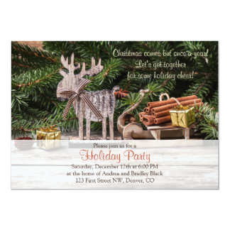 Rustic Deer Sleigh Christmas Holiday Party Card