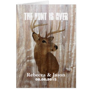 rustic deer the hunt is over wedding invitation