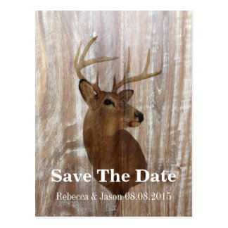 rustic deer the hunt is over wedding save the date postcard