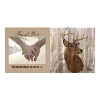 rustic deer the hunt is over wedding thank you photo cards
