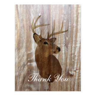rustic deer the hunt is over wedding thank you postcard