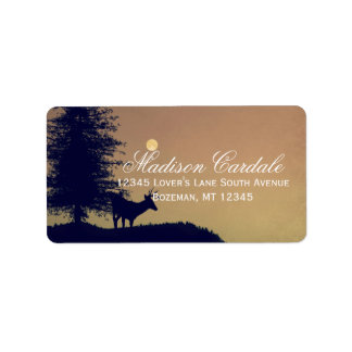 Rustic Deer Tree Country Wedding Address Labels