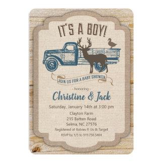 Rustic Deer Truck Boy Baby Shower Invitation