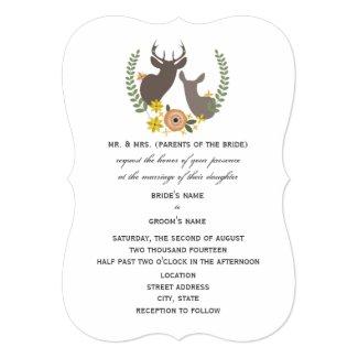 Rustic Deer Wedding - Orange Floral Custom Invites