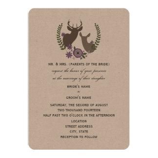 Rustic Deer Wedding - Purple Floral 5x7 Paper Invitation Card
