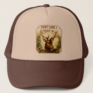 Rustic Deer with Pine Cones Personalized Trucker Hat