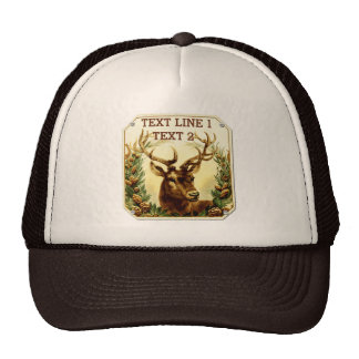 Rustic Deer with Pine Cones Personalized Trucker Hat