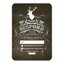 Rustic Deer Wooden Wedding RSVP Cards